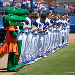 Albert, Albert and the Florida Gators line up for the National Anthem as the Gators win the series over the Auburn Tigers with a 12-3 game three win.  April 28th, 2018. Gator Country photo by David Bowie.