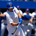 University of Florida Gators outfielder/pitcher Nick Horvath singles as the Gators win the series over the Auburn Tigers with a 12-3 game three win.  April 28th, 2018. Gator Country photo by David Bowie.