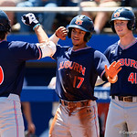 Auburn infielder Will Holland celebrates with Auburn outfielder/infielder Edouard Julien after Julien put the Tigers up 3-0 with a 3-run home run as the Gators win the series over the Auburn Tigers with a 12-3 game three win.  April 28th, 2018. Gator Country photo by David Bowie.