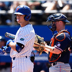 University of Florida Gators outfielder Wil Dalton blows a bubble as he syeps up to the plate as the Gators win the series over the Auburn Tigers with a 12-3 game three win.  April 28th, 2018. Gator Country photo by David Bowie.
