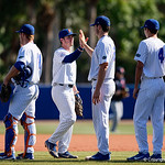 University of Florida Gators infielder Deacon Liput and the Gators celebrate as the Gators win the series over the Auburn Tigers with a 12-3 game three win.  April 28th, 2018. Gator Country photo by David Bowie.