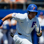 University of Florida Gators catcher/infielder Brady Smith singles as the Gators win the series over the Auburn Tigers with a 12-3 game three win.  April 28th, 2018. Gator Country photo by David Bowie.