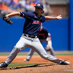 Auburn Left-hander Andrew Mitchell pitching as the Gators win the series over the Auburn Tigers with a 12-3 game three win.  April 28th, 2018. Gator Country photo by David Bowie.