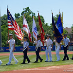 Cadets of the four military services JROTC march onto the field during pregame for the National Anthem as the Gators win the series over the Auburn Tigers with a 12-3 game three win.  April 28th, 2018. Gator Country photo by David Bowie.