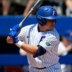 University of Florida Gators catcher/infielder Brady Smith at the plate as the Gators win the series over the Auburn Tigers with a 12-3 game three win.  April 28th, 2018. Gator Country photo by David Bowie.