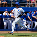 University of Florida Gators infielder Jonathan India sprints around third base and toward home as the Gators win the series over the Auburn Tigers with a 12-3 game three win.  April 28th, 2018. Gator Country photo by David Bowie.
