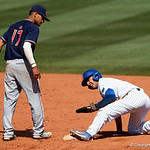 University of Florida Gators infielder Jonathan India slides safely into second base as the Gators win the series over the Auburn Tigers with a 12-3 game three win.  April 28th, 2018. Gator Country photo by David Bowie.