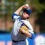 University of Florida Gators pitcher Michael Byrne pitching as the Gators win the series over the Auburn Tigers with a 12-3 game three win.  April 28th, 2018. Gator Country photo by David Bowie.