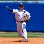 University of Florida Gators infielder Deacon Liput throws to first base as the Gators win the series over the Auburn Tigers with a 12-3 game three win.  April 28th, 2018. Gator Country photo by David Bowie.