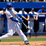 University of Florida Gators catcher/first baseman JJ Schwarz singles as the Gators win the series over the Auburn Tigers with a 12-3 game three win.  April 28th, 2018. Gator Country photo by David Bowie.