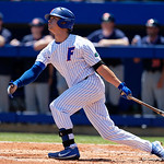 University of Florida Gators outfielder Wil Dalton follows through as the Gators win the series over the Auburn Tigers with a 12-3 game three win.  April 28th, 2018. Gator Country photo by David Bowie.