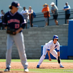 University of Florida Gators infielder/outfielder Blake Reese leads off from first base as the Gators win the series over the Auburn Tigers with a 12-3 game three win.  April 28th, 2018. Gator Country photo by David Bowie.