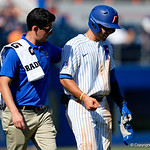 University of Florida Gators infielder Jonathan India reacts after getting hit in the hand by a pitch as the Gators win the series over the Auburn Tigers with a 12-3 game three win.  April 28th, 2018. Gator Country photo by David Bowie.