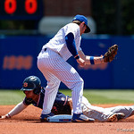 University of Florida Gators infielder Deacon Liput is unable to tag out an Auburn base runner as he slides into second base as the Gators win the series over the Auburn Tigers with a 12-3 game three win.  April 28th, 2018. Gator Country photo by David Bowie.