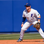 University of Florida Gators infielder Deacon Liput set at shortstop as the Gators win the series over the Auburn Tigers with a 12-3 game three win.  April 28th, 2018. Gator Country photo by David Bowie.