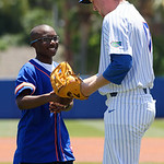 University of Florida Gators pitcher Michael Byrne with a young boy who threw out the first pitch as the Gators win the series over the Auburn Tigers with a 12-3 game three win.  April 28th, 2018. Gator Country photo by David Bowie.