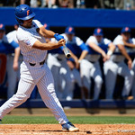 University of Florida Gators outfielder Nelson Maldonado doubles as the Gators win the series over the Auburn Tigers with a 12-3 game three win.  April 28th, 2018. Gator Country photo by David Bowie.
