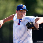 University of Florida Gators pitcher Tyler Dyson pitching in relief as the Gators win the series over the Auburn Tigers with a 12-3 game three win.  April 28th, 2018. Gator Country photo by David Bowie.
