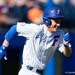 University of Florida Gators infielder/outfielder Shane Shifflett singles and sprints to first base as the Gators win the series over the Auburn Tigers with a 12-3 game three win.  April 28th, 2018. Gator Country photo by David Bowie.