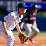 University of Florida Gators infielder/outfielder Shane Shifflett gets set at third base as the Gators win the series over the Auburn Tigers with a 12-3 game three win.  April 28th, 2018. Gator Country photo by David Bowie.