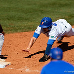University of Florida Gators infielder Jonathan India slides safely back into first base as the Gators win the series over the Auburn Tigers with a 12-3 game three win.  April 28th, 2018. Gator Country photo by David Bowie.