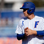 University of Florida Gators catcher/first baseman JJ Schwarz as the Gators win the series over the Auburn Tigers with a 12-3 game three win.  April 28th, 2018. Gator Country photo by David Bowie.