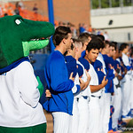 Albert the Gator and the Florida Gator baseball team during the National Anthem as the #2 ranked Gators defeat the #7 Florida State Seminoles 12-6 at McKethan Stadium.  February 16th, 2017. Gator Country photo by David Bowie.