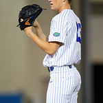 University of Florida Gators pitcher Jack Leftwich pitching as the #2 ranked Gators defeat the #7 Florida State Seminoles 12-6 at McKethan Stadium.  February 16th, 2017. Gator Country photo by David Bowie.