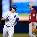 University of Florida Gators infielder Jonathan India hits his second home run of the game as the #2 ranked Gators defeat the #7 Florida State Seminoles 12-6 at McKethan Stadium.  February 16th, 2017. Gator Country photo by David Bowie.