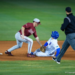 University of Florida Gators outfielder/pitcher Austin Langworthy slides into second baseas the #2 ranked Gators defeabut is tagged out the #7 Florida State Seminoles 12-6 at McKethan Stadium.  February 16th, 2017. Gator Country photo by David Bowie.