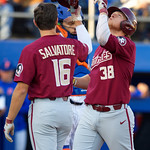 Florida State outfielder Rhett Aplin celebrates after hitting his second home run of the game as the #2 ranked Gators defeat the #7 Florida State Seminoles 12-6 at McKethan Stadium.  February 16th, 2017. Gator Country photo by David Bowie.
