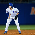 University of Florida Gators infielder Deacon Liput leads off second base as the #2 ranked Gators defeat the #7 Florida State Seminoles 12-6 at McKethan Stadium.  February 16th, 2017. Gator Country photo by David Bowie.