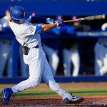 University of Florida Gators infielder Jonathan India hits a home run in the second inning as the #2 ranked Gators defeat the #7 Florida State Seminoles 12-6 at McKethan Stadium.  February 16th, 2017. Gator Country photo by David Bowie.