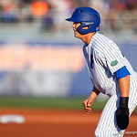 University of Florida Gators infielder/outfielder Blake Reese leads off first base as the #2 ranked Gators defeat the #7 Florida State Seminoles 12-6 at McKethan Stadium.  February 16th, 2017. Gator Country photo by David Bowie.