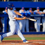 University of Florida Gators outfielder Nelson Maldonado swings away at a pitch as the #2 ranked Gators defeat the #7 Florida State Seminoles 12-6 at McKethan Stadium.  February 16th, 2017. Gator Country photo by David Bowie.