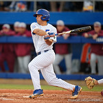 University of Florida Gators outfielder/pitcher Nick Horvath singles as the #2 ranked Gators defeat the #7 Florida State Seminoles 12-6 at McKethan Stadium.  February 16th, 2017. Gator Country photo by David Bowie.