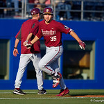Florida State catcher Cal Raleigh rounds third base after hitting a home run in the first inning as the #2 ranked Gators defeat the #7 Florida State Seminoles 12-6 at McKethan Stadium.  February 16th, 2017. Gator Country photo by David Bowie.