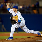 University of Florida Gators pitcher Michael Byrne pitching as the #2 ranked Gators defeat the #7 Florida State Seminoles 12-6 at McKethan Stadium.  February 16th, 2017. Gator Country photo by David Bowie.