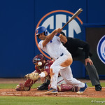 University of Florida Gators outfielder Nelson Maldonado singles as the #2 ranked Gators defeat the #7 Florida State Seminoles 12-6 at McKethan Stadium.  February 16th, 2017. Gator Country photo by David Bowie.