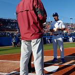 University of Florida Gators baseball head coach Kevin O'Sullivan and FSU head coach Mike Martin meet at home plate prior to the first pitch as the #2 ranked Gators defeat the #7 Florida State Seminoles 12-6 at McKethan Stadium.  February 16th, 2017. Gator Country photo by David Bowie.