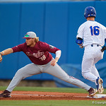 FSU Seminoles first baseman Rhett Aplin stretches out for the catch and out as the #2 ranked Gators defeat the #7 Florida State Seminoles 12-6 at McKethan Stadium.  February 16th, 2017. Gator Country photo by David Bowie.