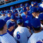 The Florida Gators baseball team gathers together before taking the field for the start of the game as the #2 ranked Gators defeat the #7 Florida State Seminoles 12-6 at McKethan Stadium.  February 16th, 2017. Gator Country photo by David Bowie.