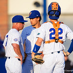 University of Florida Gators baseball head coach Kevin O'Sullivan comes out to pull University of Florida Gators outfielder/pitcher Jordan Butler as the #2 ranked Gators defeat the #7 Florida State Seminoles 12-6 at McKethan Stadium.  February 16th, 2017. Gator Country photo by David Bowie.