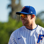 Catcher Jonah Girand warms up before the #2 ranked Gators defeat the #7 Florida State Seminoles 12-6 at McKethan Stadium.  February 16th, 2017. Gator Country photo by David Bowie.