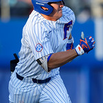 University of Florida Gators infielder/outfielder Blake Reese singles as the #2 ranked Gators defeat the #7 Florida State Seminoles 12-6 at McKethan Stadium.  February 16th, 2017. Gator Country photo by David Bowie.