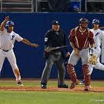 University of Florida Gators outfielder Nelson Maldonado celebrating as the Gators extend their lead as the #2 ranked Gators defeat the #7 Florida State Seminoles 12-6 at McKethan Stadium.  February 16th, 2017. Gator Country photo by David Bowie.