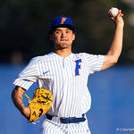 University of Florida Gators outfielder/pitcher Jordan Butler pitching as the #2 ranked Gators defeat the #7 Florida State Seminoles 12-6 at McKethan Stadium.  February 16th, 2017. Gator Country photo by David Bowie.