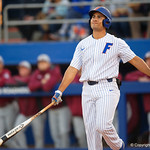 University of Florida Gators outfielder Keenan Bell swinging away as the #2 ranked Gators defeat the #7 Florida State Seminoles 12-6 at McKethan Stadium.  February 16th, 2017. Gator Country photo by David Bowie.
