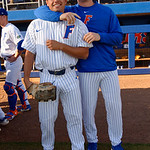 University of Florida Gators outfielder/pitcher Nick Horvath and University of Florida Gators pitcher Tyler Dyson during pre-game as the #2 ranked Gators defeat the #7 Florida State Seminoles 12-6 at McKethan Stadium.  February 16th, 2017. Gator Country photo by David Bowie.