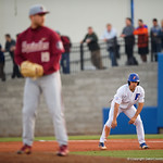 University of Florida Gators outfielder/pitcher Nick Horvath leads off first base as the #2 ranked Gators defeat the #7 Florida State Seminoles 12-6 at McKethan Stadium.  February 16th, 2017. Gator Country photo by David Bowie.